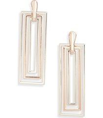 open edit rectangular statement earrings in rhodium- rose gold at nordstrom