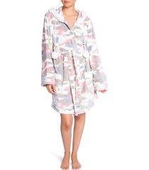 women's pj salvage short plush hooded robe, size small - beige
