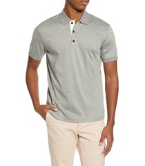 men's rag & bone interlock slim fit heathered polo shirt, size x-large - grey