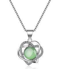 collane con ciondolo di moda con doppio cuore e perle di cristallo verde rotondo per donne