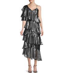 ruffle silk-blend dress