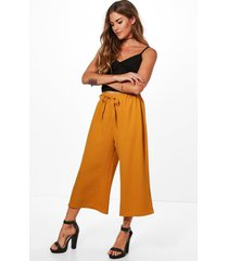 basic tie waist woven crepe culottes, mustard