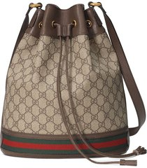 gucci beige and ebony ophidia gg bucket bag - neutrals