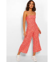 ditsy floral cami culotte jumpsuit, red