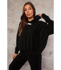 gerecyclede badstoffen hoodie, black