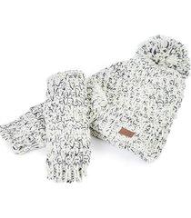 gorro y guantes lurex blanco humana