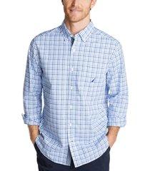 nautica men's classic-fit stretch plaid poplin shirt
