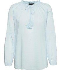blouse blus långärmad blå ilse jacobsen