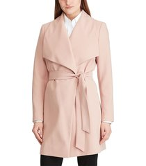 women's lauren ralph lauren belted crepe wrap coat