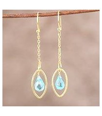 gold plated blue topaz dangle earrings, 'shining eye' (india)