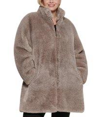 calvin klein plus size faux-fur adjustable anorak coat
