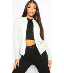 tall quilted jersey bomber jacket, mint