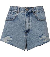 shorts rosa chá blenda jeans azul feminino (jeans claro, 50)