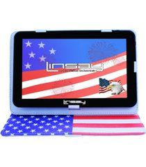 "10.1"" new tablet quad core 32gb android 10 bundle with usa style leather case"