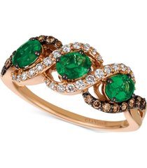 le vian chocolatier costa smeralda emerald (3/4 ct. t.w.) & diamond (3/8 ct. t.w.) ring in 14k gold