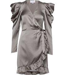 ruffled wrap-front mini dress knälång klänning grå designers, remix