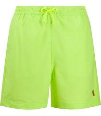 carhartt wip embroidered logo swim shorts - green