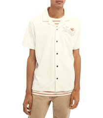 men's scotch & soda embroidered short sleeve terry cloth button-up camp shirt, size small - white