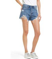 women's hidden jeans destroyed rainbow thread mom denim shorts, size large - blue