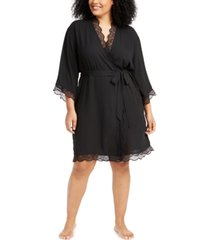 inc plus size lace-trim chiffon wrap robe, created for macy's