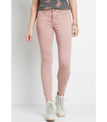 maurices womens high rise pink double button jegging made with repreve