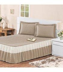 colcha / cobre leito agatha com 2 porta travesseiros casal casa dona caqui - incolor - dafiti