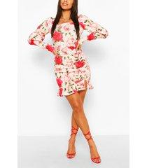 gebloemde mini-jurk met pofmouwen met ruches, roze