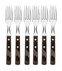 jogo garfos de mesa tramontina 21198916 cabo madeira 6 peças inox