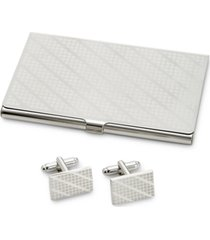 the gift men's cuff links & card case set