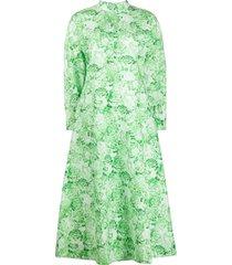 ganni floral print cotton poplin dress - green