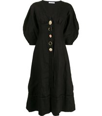 rachel gilbert capri button-up dress - black