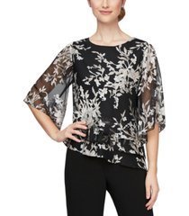 alex evenings printed asymmetric top