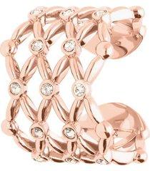 anello regolabile big in ottone rosato e brillanti per donna