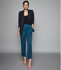 reiss reese - pleat front tapered trousers in petrol, womens, size 10