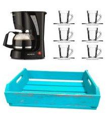 kit 1 cafeteira mondial 110v, 6 xícaras 90ml e 1 bandeja em mdf azul