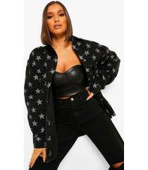 baggy spijkerstof tussenjas met sterrenprint, black