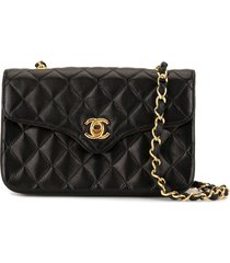chanel pre-owned mini diamond quilt chain crossbody bag - black