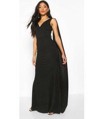 maxi jurk met eén blote schouder en mantel, black