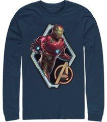 marvel men's avengers endgame iron man diamond portrait, long sleeve t-shirt
