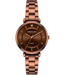 kenneth cole new york women's diamond dial brown stainless steel bracelet watch 34mm