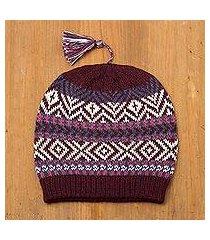 100% alpaca hat, 'inca festival in wine' (peru)