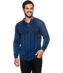 jaqueta officina do tricô espanha azul