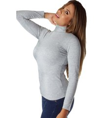 blusa color gray mix bocared para dama  manga larga cuello tortuga en jersey licra juno