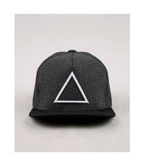 boné masculino triângulo aba reta com bordado e suede cinza mescla escuro