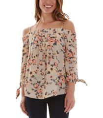 bcx juniors' floral-print cold-shoulder top