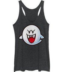 fifth sun nintendo women's super mario boo face tri-blend tank top