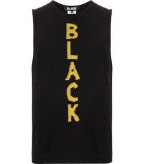 black comme des garçons fine knit slogan tank top