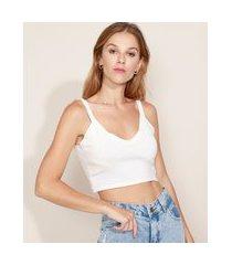 top cropped de tricô feminino alça fina decote v off white