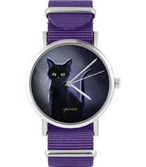 zegarek - czarny kot, noc - fiolet, nylonowy