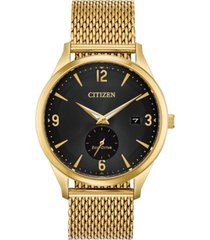 citizen drive from citizen eco-drive men's gold-tone stainless steel mesh bracelet watch 40mm